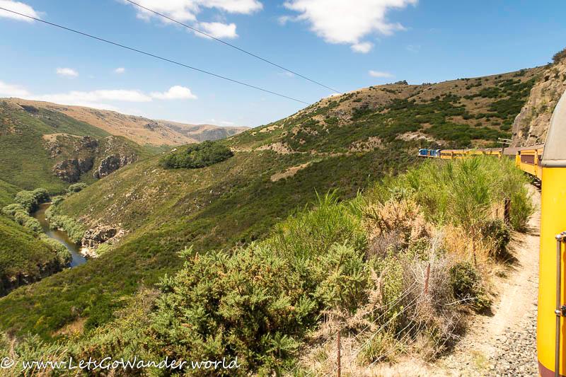 Train ride through the Tairei Gorge to Dunedin