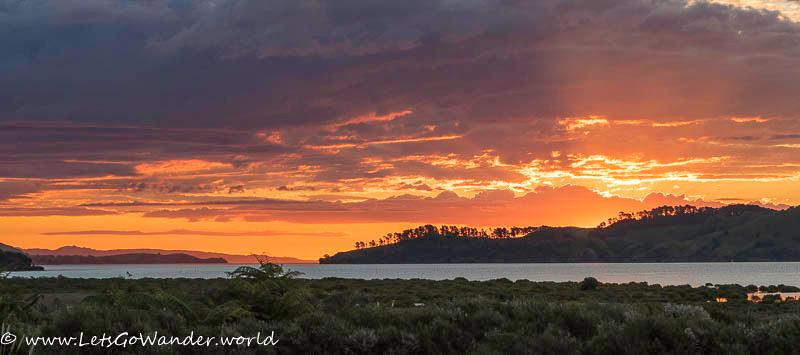 Spectacular sunset on the Coromandel peninsula