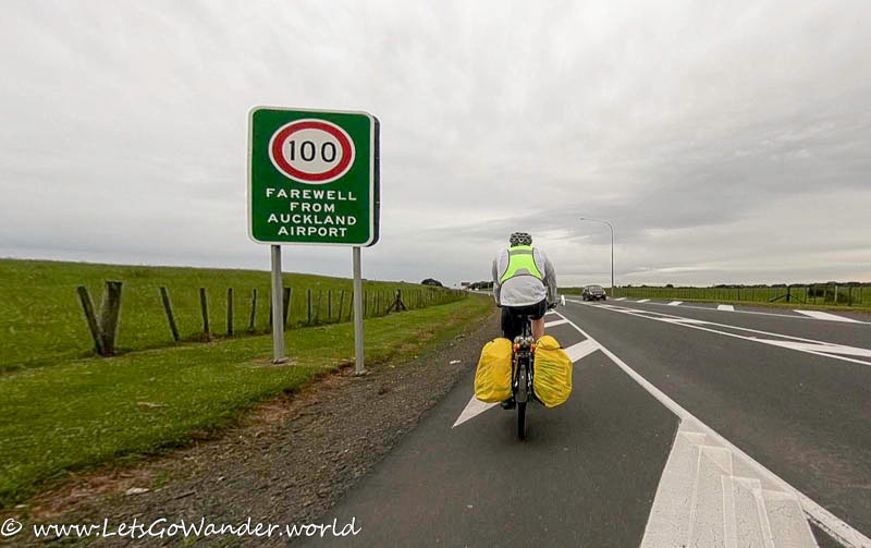 Riding from Auckland airport on a gray windy day